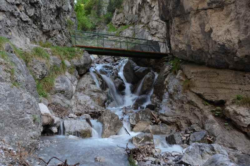 Ehnbachklamm: Über die Brücke wandert man hinauf im Brunntal