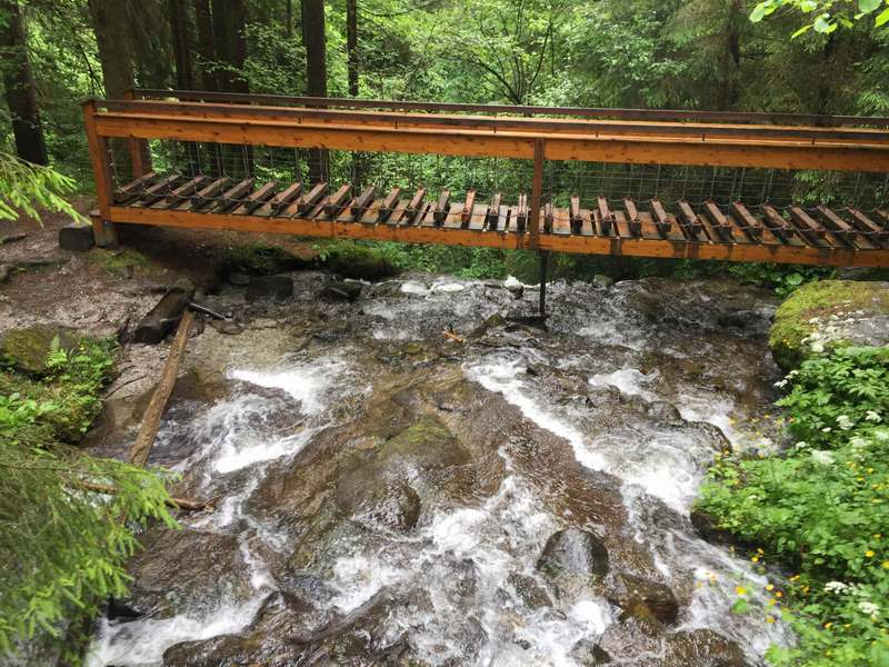 Wir wandern über den Haselbach in Hart im Zillertal