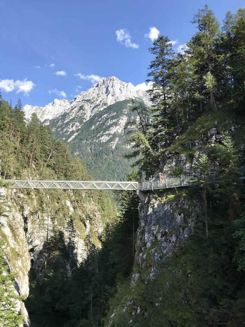 Das ist das Highlight in der Leutaschklamm: Die Brücke über die Schlucht