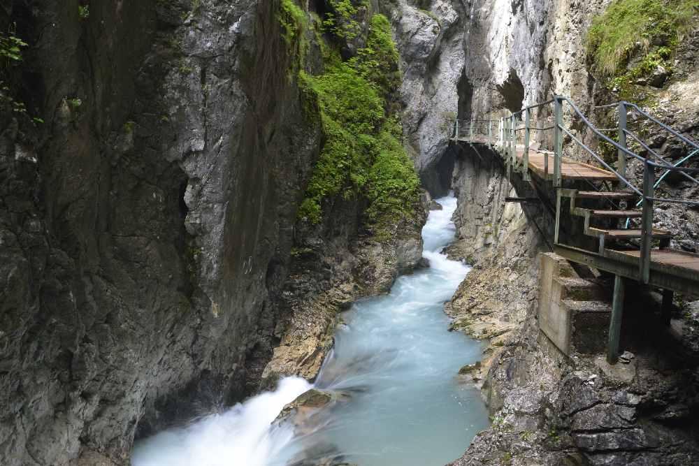 Die Leutaschklamm Mittenwald - der Wasserfallsteig ist der ursprüngliche Steig in die Klamm