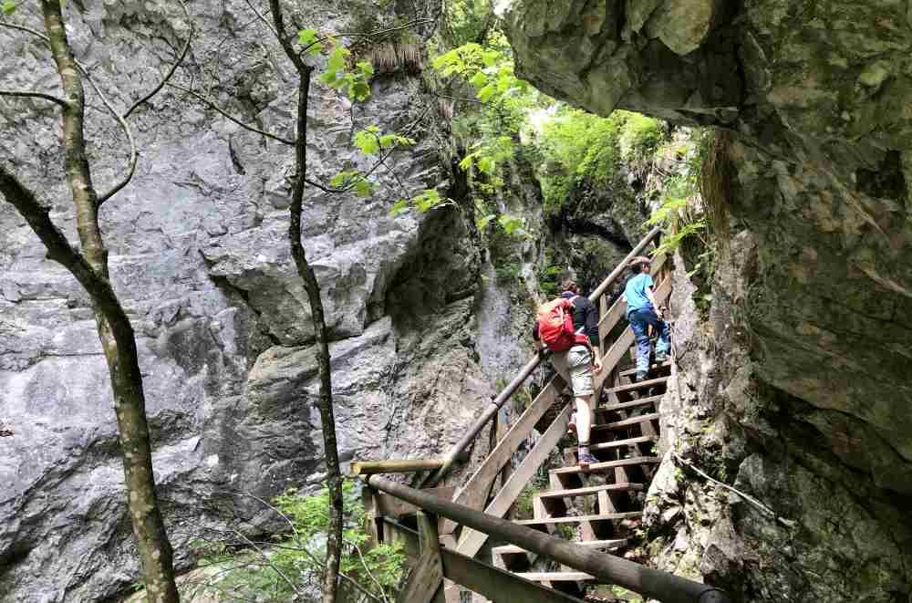 Und dann geht es über diesen Stufen in die Wolfsklamm hinein - das Abenteuer Wolfsklamm in Tirol.
