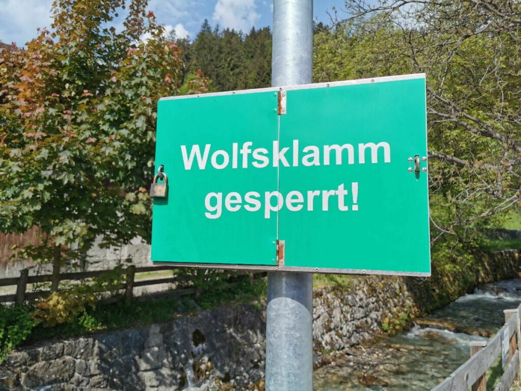 Die Wolfsklamm ist im Winter gesperrt!