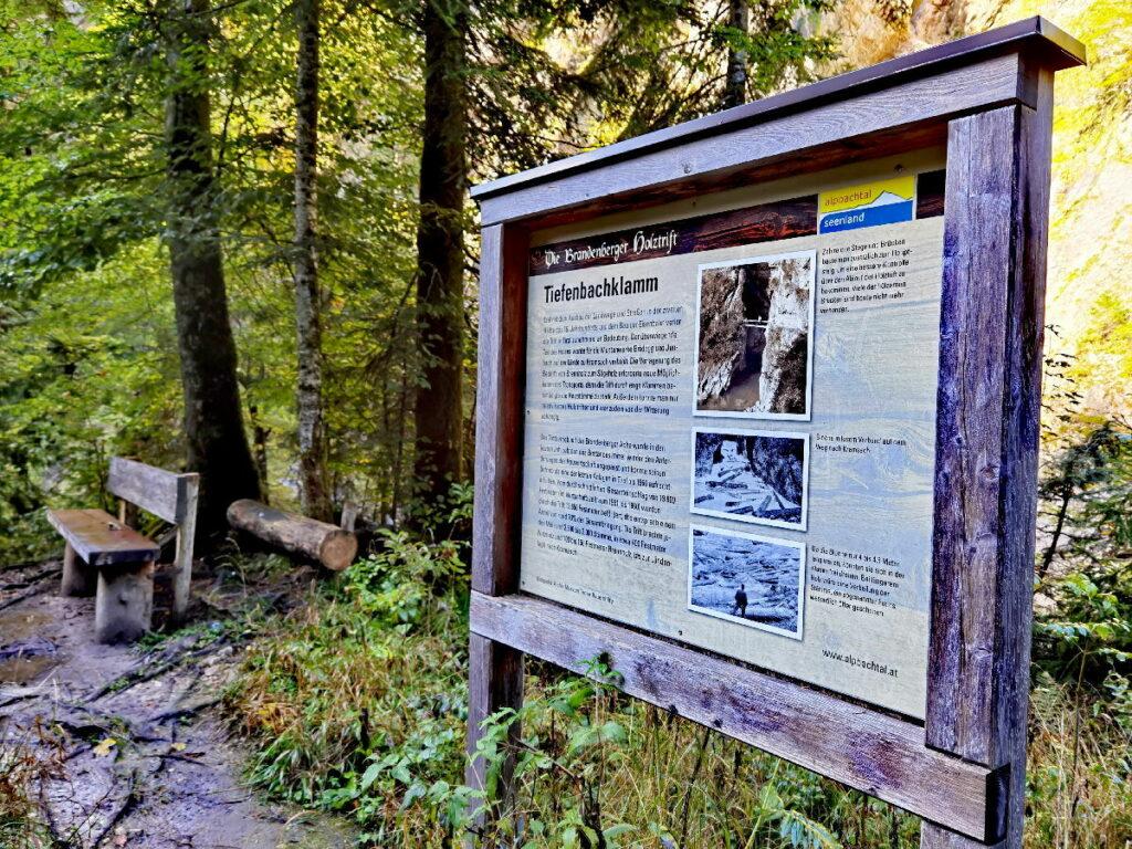 Heute ist die Tiefenbachklamm ein Ausflugsziel - früher wurde das Holz getriftet